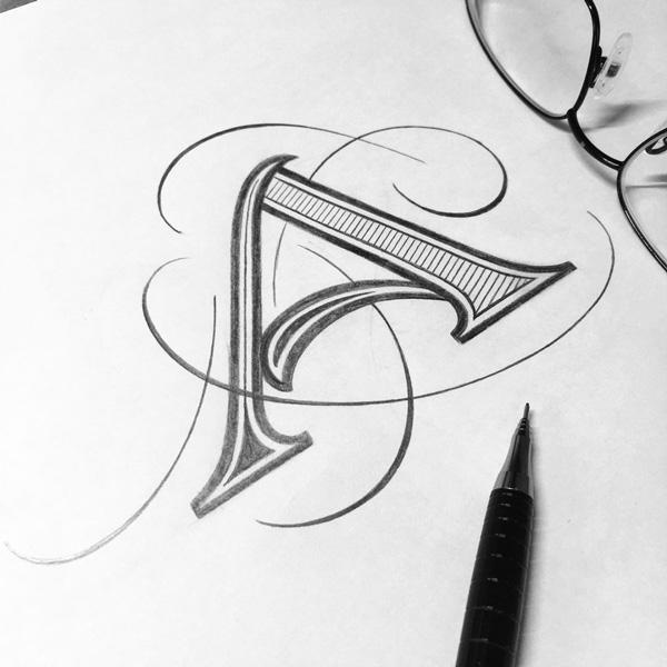 Buchstaben-Lettering